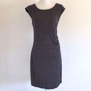LOFT Navy Blue Polka Dot Sheath Dress